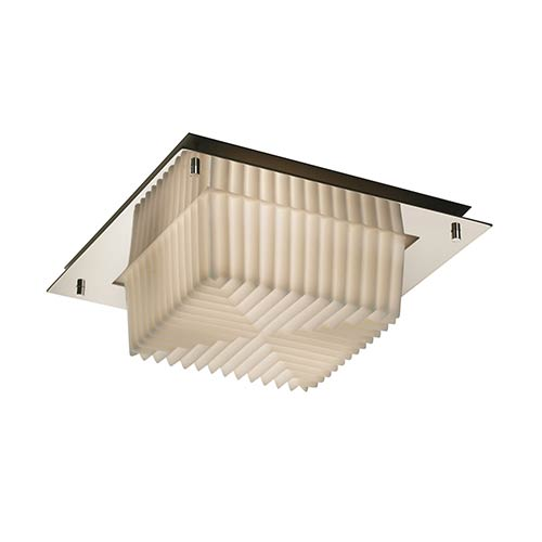 Porcelina Polished Chrome Two-Light 12-Inch Wide Fluorescent Square Framed Flush Mount with Pleats Shade