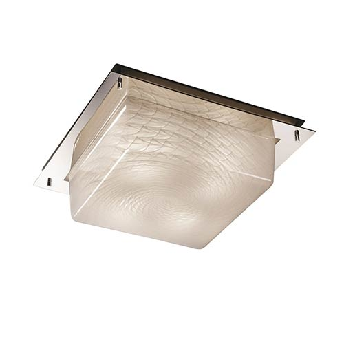 Fusion Polished Chrome Two-Light 12-Inch Wide Fluorescent Square Framed Flush Mount with Weave Glass
