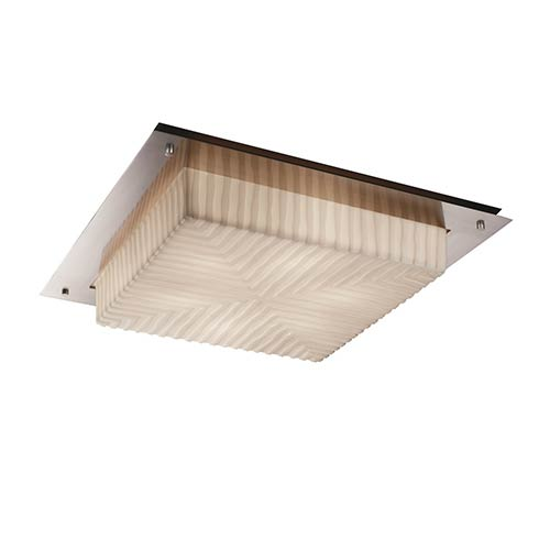 Porcelina Brushed Nickel Six-Light 24-Inch Wide Fluorescent Square Framed Flush Mount with Waterfall Shade