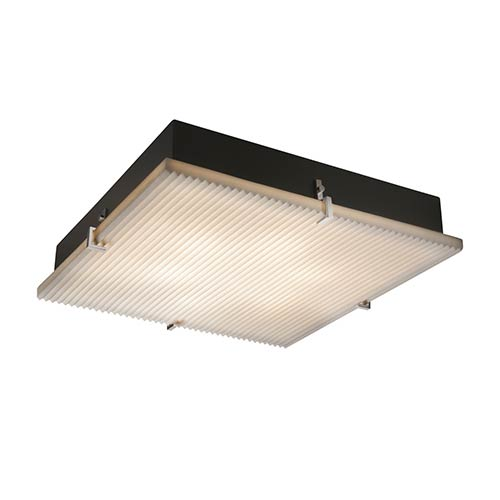 Porcelina Brushed Nickel 24-Inch Wide LED Square Clips Flush Mount with Pleats Shade