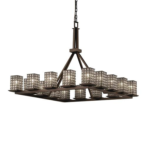 Wire Glass Dark Bronze 16-Light Flat Rim Square Ring Chandelier with Grid Clear Bubbles Glass