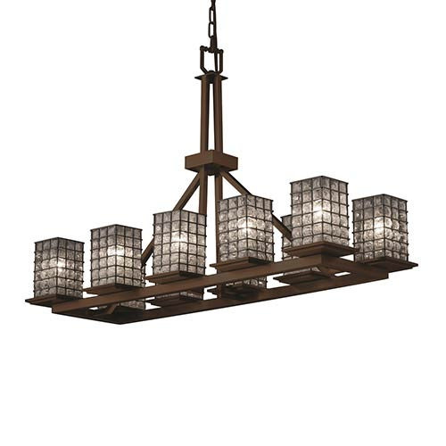 Justice Design Group Wire Glass Brushed Nickel 10-Light Flat Rim Square Rectangular Ring Chandelier