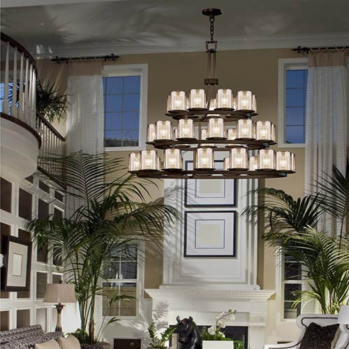 Fusion Dark Bronze 36-Light Flat Rim Cylinder Three-Tier Ring Chandelier with Mercury Glass