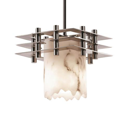 LumenAria Brushed Nickel One-Light Broken Rim Cylinder Mini Pendant with Three Flat Bar