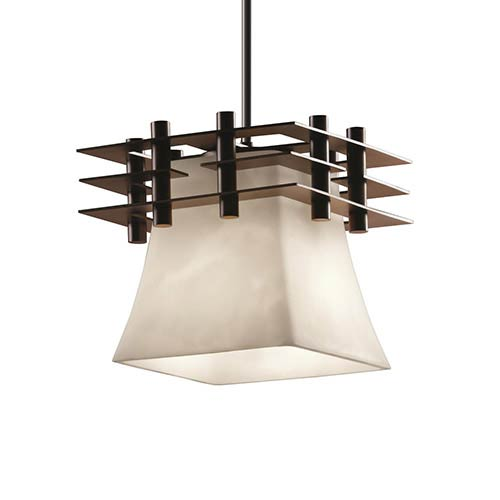 Clouds Dark Bronze One-Light Square Flared Mini Pendant with Three Flat Bar