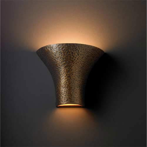 Ambiance Large Flared Hammered Brass Wall Sconce