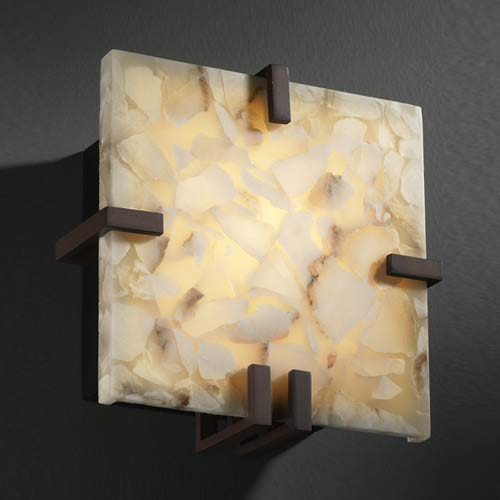 Justice Design Group Alabaster Rocks! Fluorescent Clips Square Wall Sconce