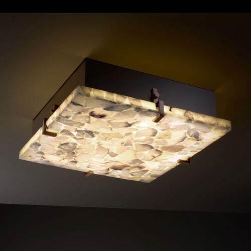 Alabaster Rocks! Clips 12-Inch Two-Light Fluorescent Dark Bronze Square Flush-Mount