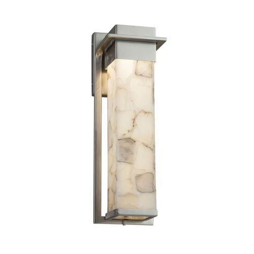 Justice Design Group Alabaster Rocks! - Pacific Brushed Nickel LED Outdoor Wall Sconce with Cream Shaved Alabaster Rocks