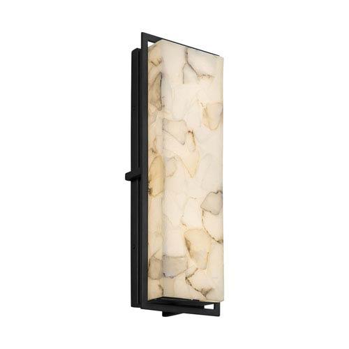 Justice Design Group Alabaster Rocks! - Avalon Matte Black 18-Inch LED Outdoor Wall Sconce with Cream Shaved Alabaster Rocks