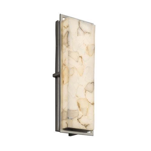 Justice Design Group Alabaster Rocks! - Avalon Brushed Nickel 18-Inch LED Outdoor Wall Sconce with Cream Shaved Alabaster