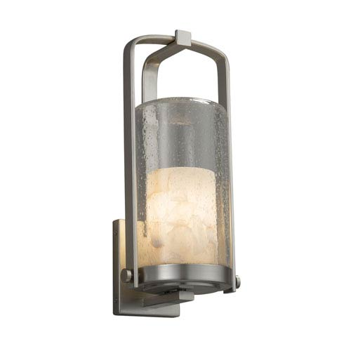 Alabaster Rocks! - Atlantic Brushed Nickel 17-Inch LED Outdoor Wall Sconce with Cream Shaved Alabaster Rocks