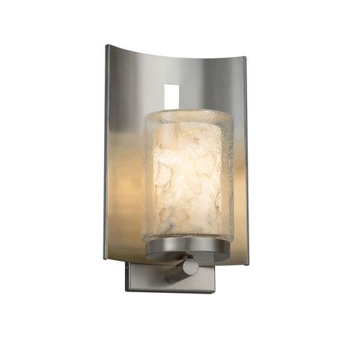 Alabaster Rocks! - Embark Brushed Nickel LED Outdoor Wall Sconce with Cream Shaved Alabaster Rocks