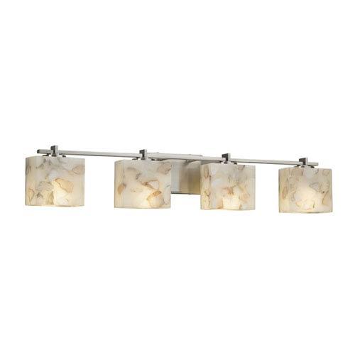 Alabaster Rocks! - Era Brushed Nickel Four-Light Bath Vanity with Cream Shaved Alabaster Rocks