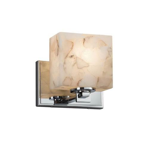 Alabaster Rocks! - Era Polished Chrome LED Wall Sconce with Cream Shaved Alabaster Rocks