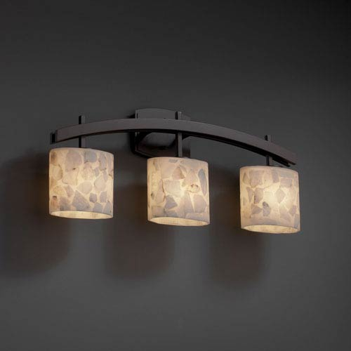 Alabaster Rocks! Archway Three-Light Dark Bronze Bath Fixture