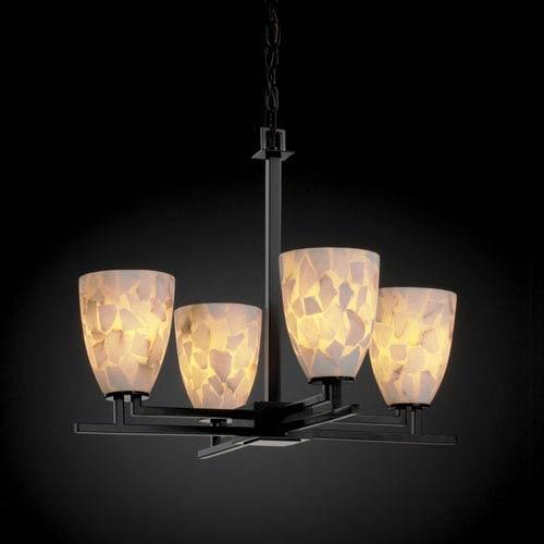 Justice Design Group Alabaster Rocks! Aero Four-Light Matte Black Chandelier