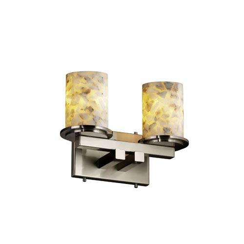 Justice Design Group Alabaster Rocks! Dakota Two-Light Brushed Nickel Straight-Bar Bath Fixture