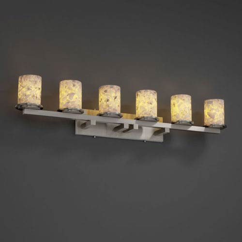 Alabaster Rocks! Dakota Six-Light Brushed Nickel Bath Fixture