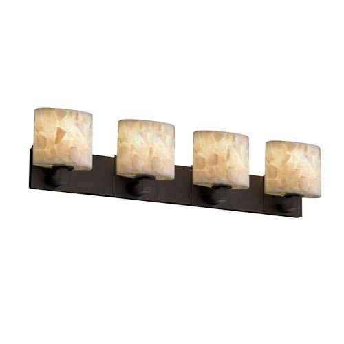 Alabaster Rocks! Modular Four-Light Dark Bronze Bath Fixture