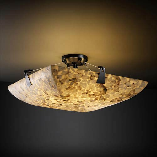 Alabster Rocks! 18-Inch 3000 Lumen LED Semi-Flush Mount with Tapered Clips
