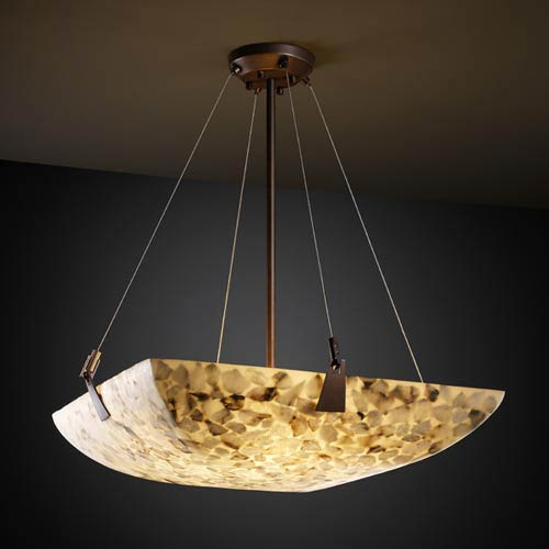 Alabster Rocks! 24-Inch Bowl Pendant with Tapered Clips