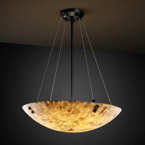Alabster Rocks! 36-Inch Bowl Pendant with Pair Square Points Finials