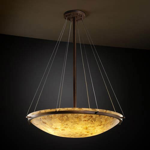 Alabster Rocks! 36-Inch Round Bowl 6000 Lumen LED Pendant with Ring