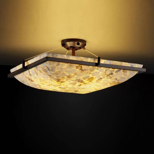 Alabster Rocks! 18-Inch Square 3000 Lumen LED Semi-Flush Mount with Ring