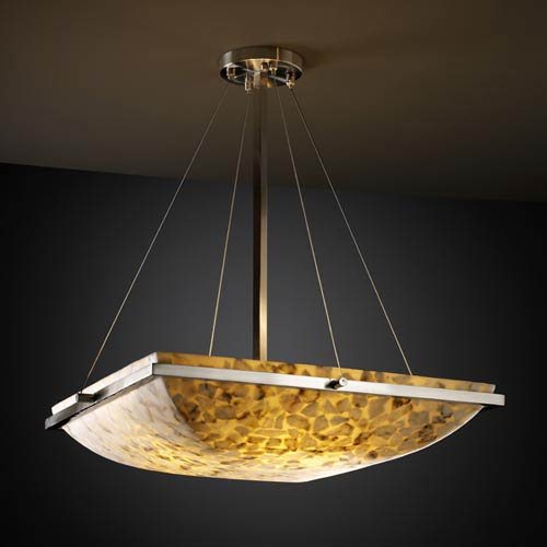 Alabster Rocks! 18-Inch Square Bowl Pendant with Ring
