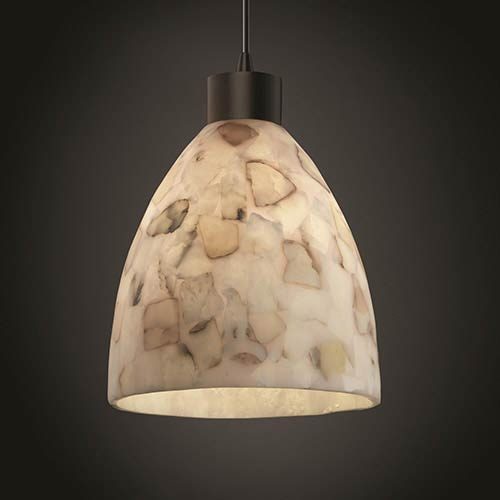 Alabaster Rocks Matte Black One-Light Short Tapered Cylinder Large Pendant