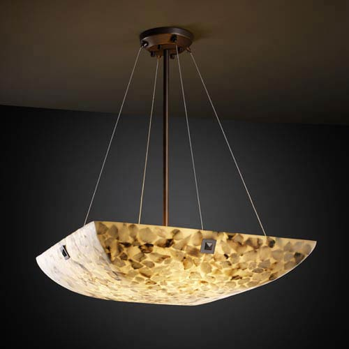 Alabster Rocks! 18-Inch Bowl 3000 Lumen LED Pendant with Large Square Point Finials