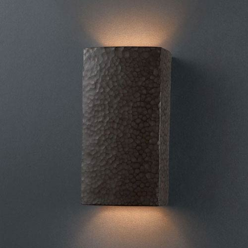 Ambiance Hammered Iron Small Rectangle Bathroom Wall Sconce