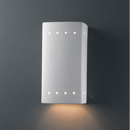 Ambiance Bisque Small Rectangle With Perfs Bathroom Wall Sconce