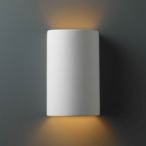 Justice Design Group Ambiance Bisque Small Cylinder Bathroom Wall Sconce