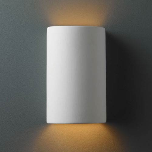 Justice Design Group Ambiance Bisque Small Cylinder Outdoor Wall Sconce