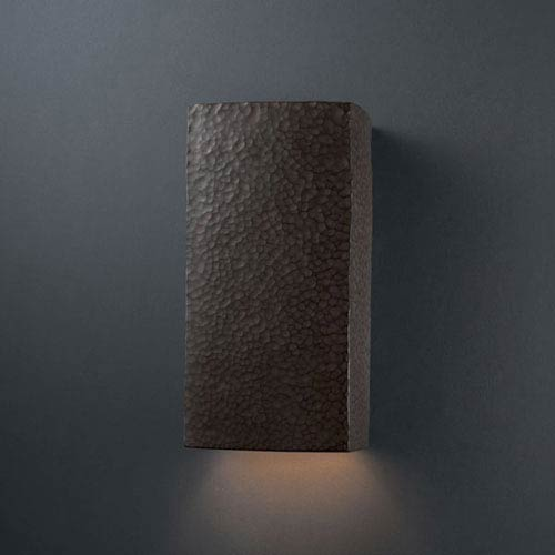 Justice Design Group Ambiance Hammered Iron Large Rectangle Bathroom Wall Sconce