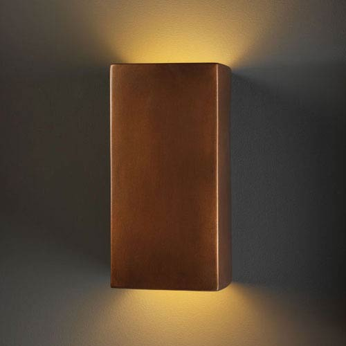 Justice Design Group Ambiance Antique Copper Large Rectangle Outdoor Wall Sconce