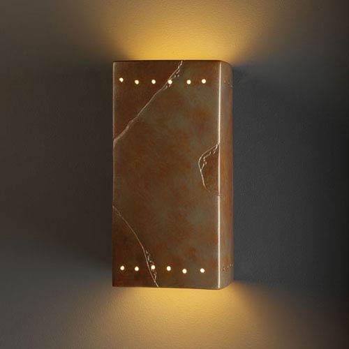 Justice Design Group Ambiance Bisque Large Rectangle With Perfs Two-Light Bathroom Wall Sconce