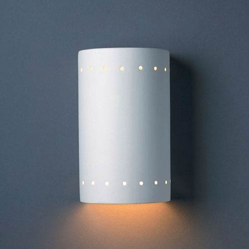 Justice Design Group Ambiance Bisque Small Cylinder With Perfs Bathroom Wall Sconce