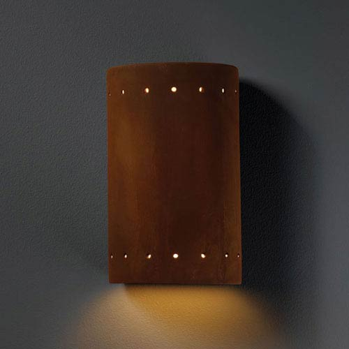Justice Design Group Ambiance Real Rust Small Cylinder With Perfs Bathroom Wall Sconce