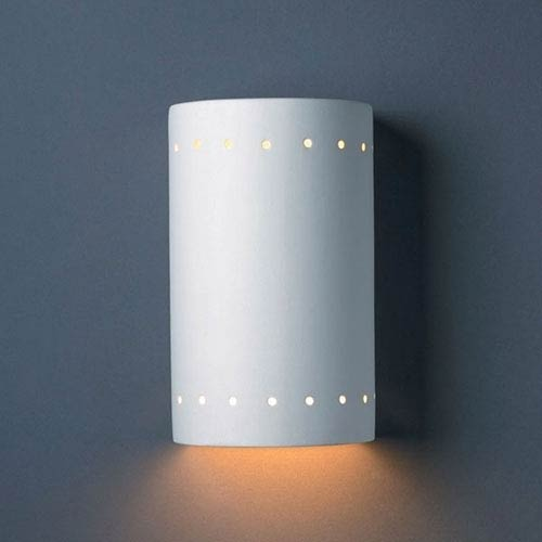 Justice Design Group Ambiance Bisque Small Cylinder With Perfs Outdoor Wall Sconce