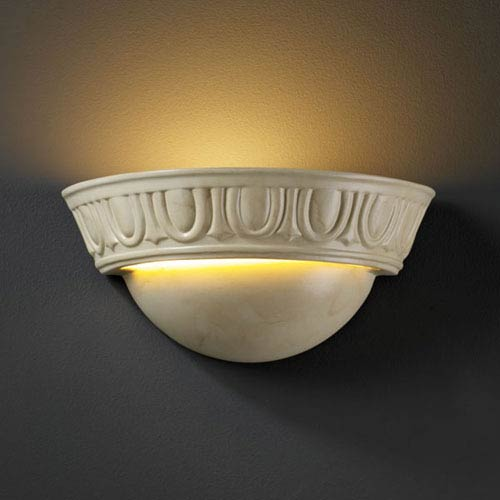 Justice Design Group Ambiance Antique Patina Small Cyma With Egg and Dart Bathroom Wall Sconce