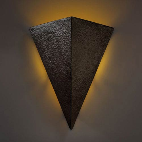 Justice Design Group Ambiance Hammered Iron Really Big Triangle Two Light Bathroom Wall Sconce Cer 1140 Hmir Bellacor