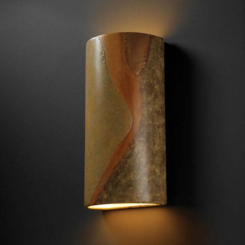 Justice Design Group Ambiance Harvest Yellow Slate Really Big Cylinder Two-Light Bathroom Wall Sconce