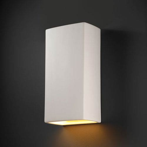 Ambiance Bisque Really Big Rectangle Bathroom Wall Sconce