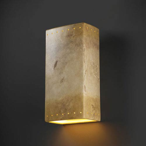 Justice Design Group Ambiance Greco Travertine Really Big Rectangle With Perfs Bathroom Wall Sconce