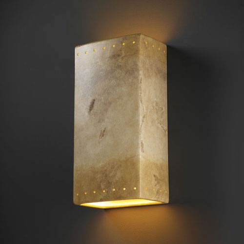 Justice Design Group Ambiance Greco Travertine Really Big Rectangle With Perfs Two-Light Bathroom Wall Sconce