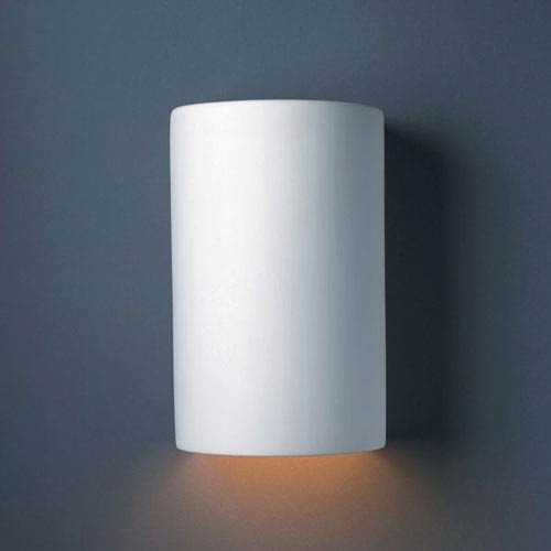 Justice Design Group Ambiance Bisque Large Cylinder Outdoor Wall Sconce