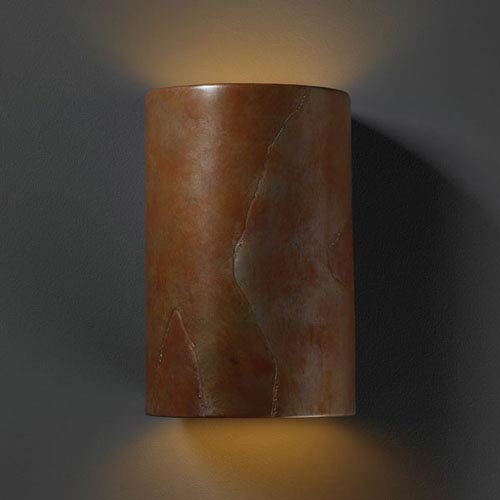 Ambiance Tierra Red Slate Large Cylinder Outdoor Wall Sconce
